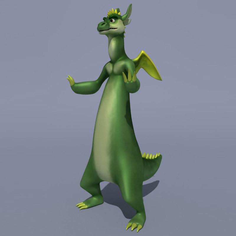 3d model character cartoon dragon
