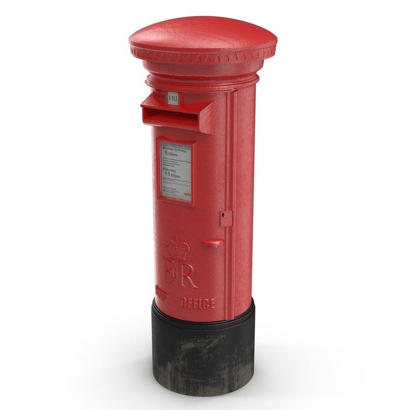 british post box 3d model
