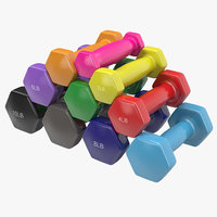 dumbbell weights set 3d model
