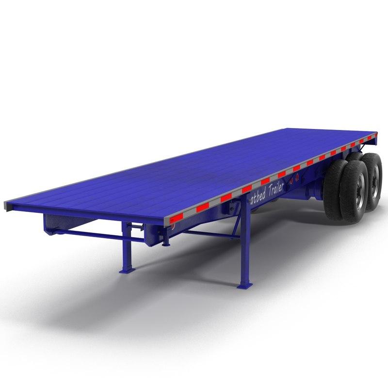3d flatbed trailer generic