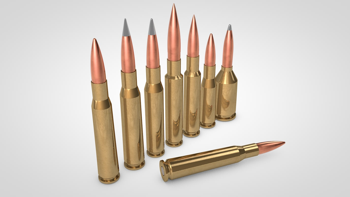 50 caliber cartridge 3d c4d