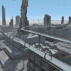 sci fi futuristic city 3d max