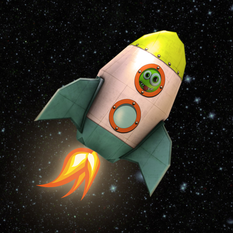 3d model cartoon rocket