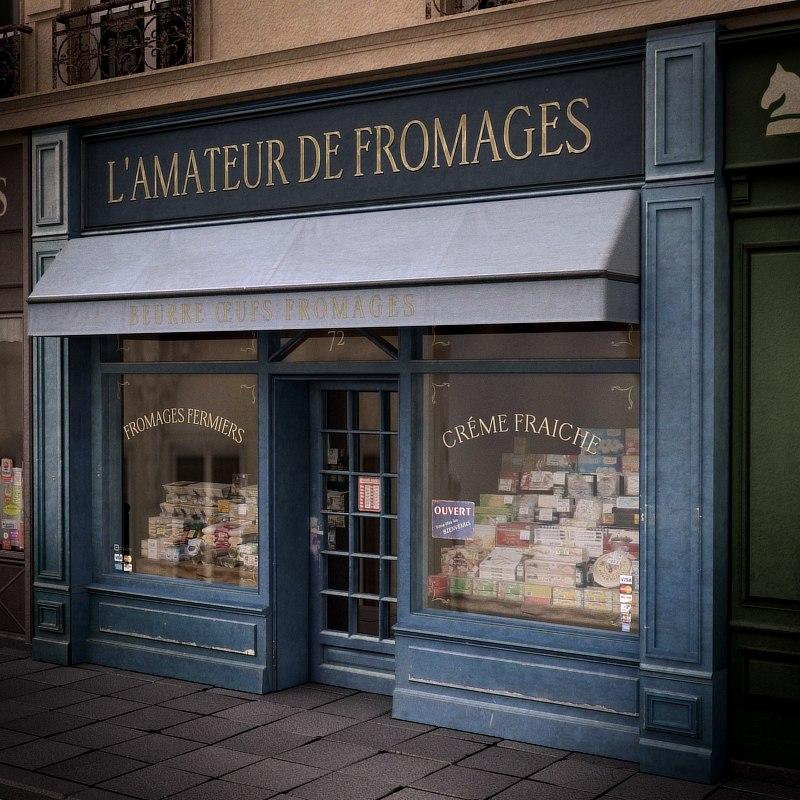 typical paris shop store fbx
