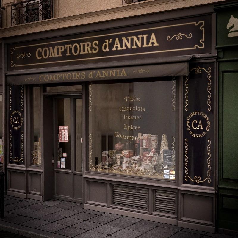 typical paris shop facade 3d lwo
