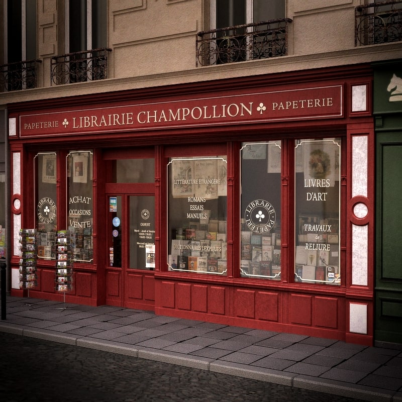 3d typical paris shop store model