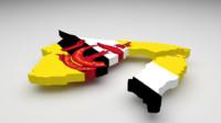 brunei flag 3d model