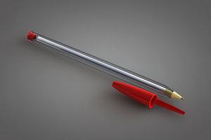 3d bic ballpoint pen model