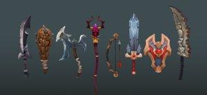 3d model sword bow weapon