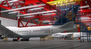 3d model aircraft maintenance hangar a380