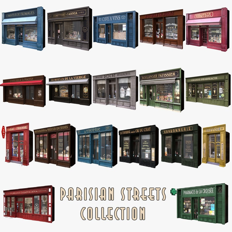 18 typical parisian shop 3d model