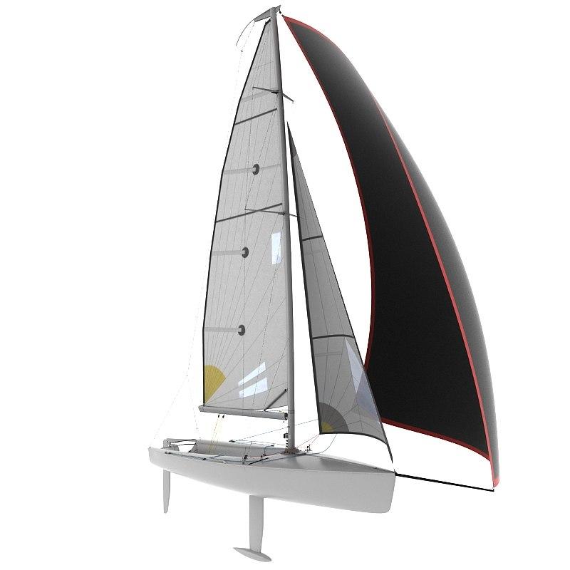 3d model of keelboat boat sport
