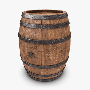 3d model realistic barrel old