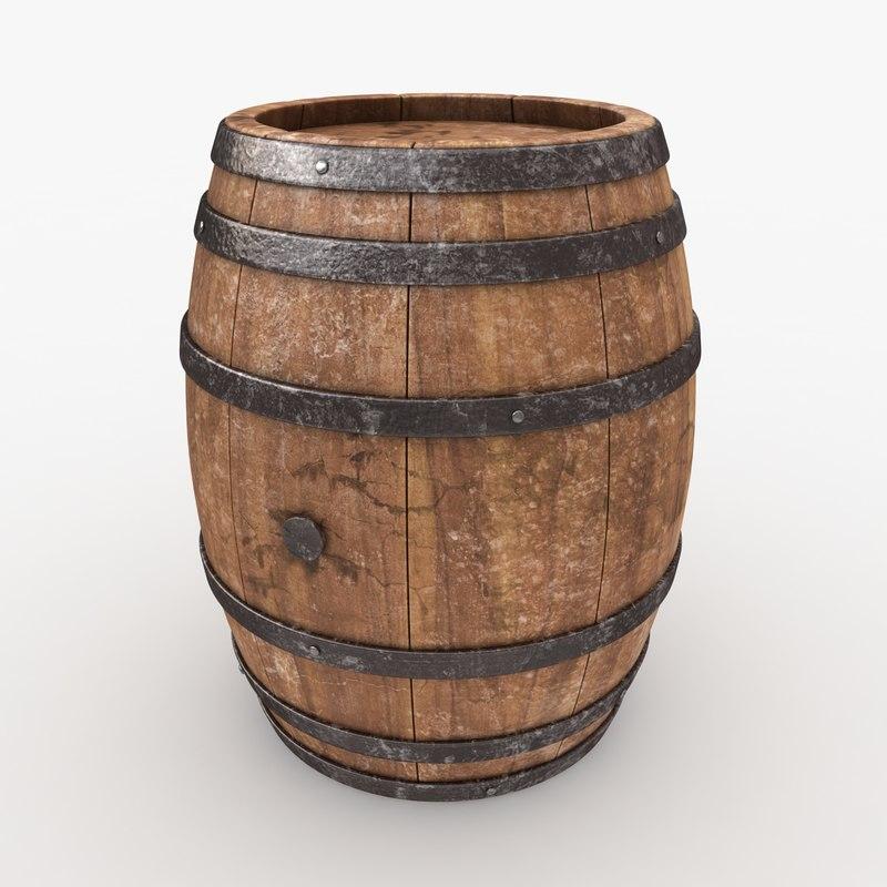 3d model realistic barrel old