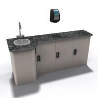 3d medical sink cabinet model