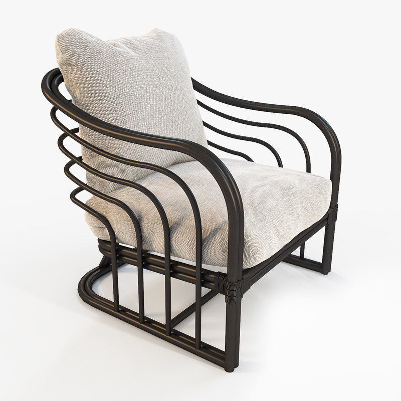 3d model armchair natural rattan