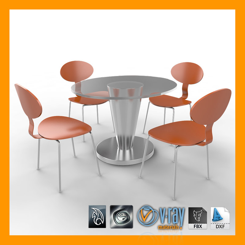 3d model table chairs