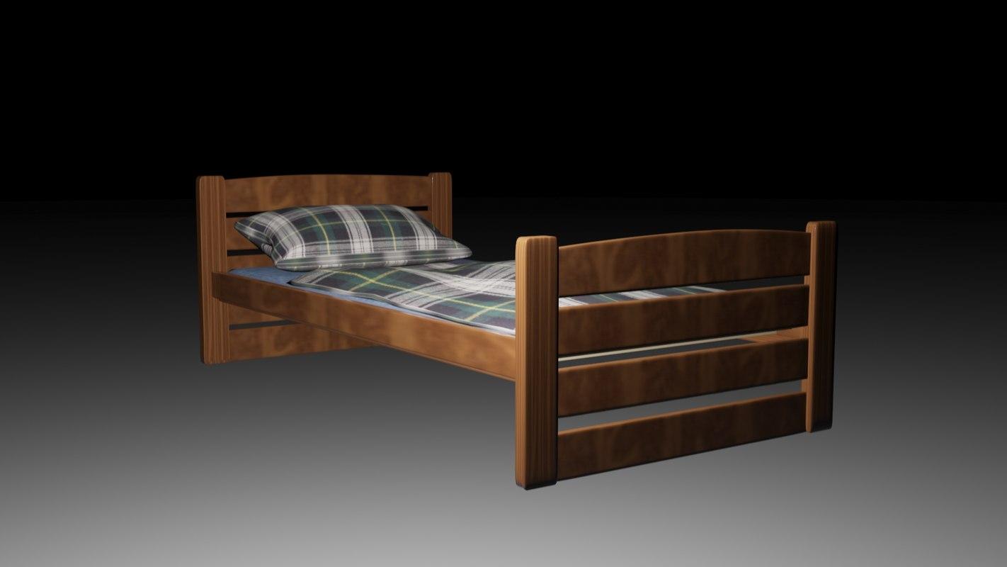 wooden bed 3d max