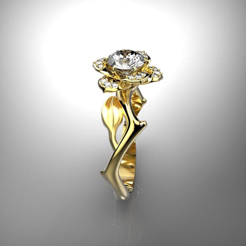 3d model stone gold ring