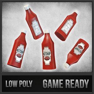 3d model ketchup bottle