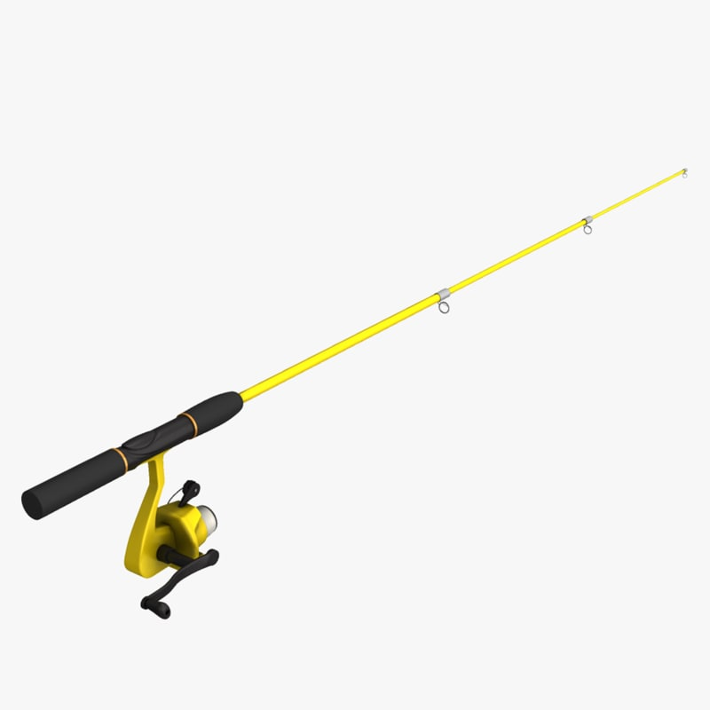 fishing pole 3d obj