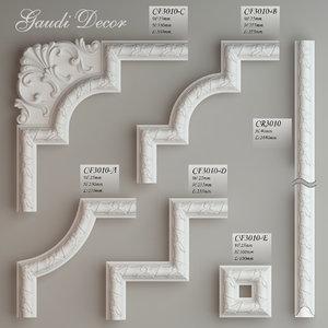 molding corner elements gaudi 3d fbx