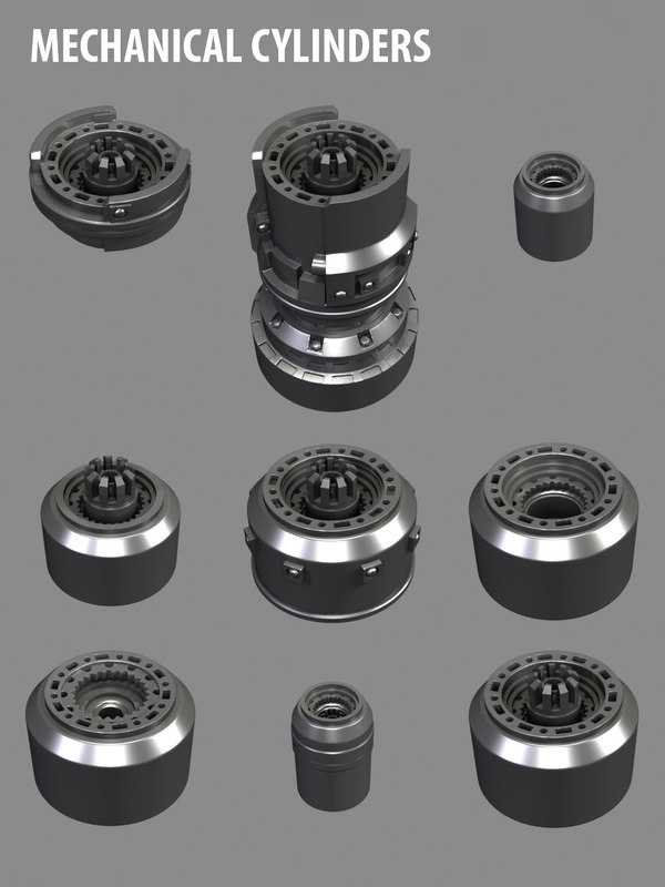 3d mechanical cylinders mechs model
