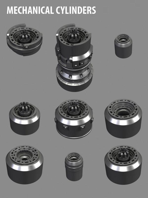 3d mechanical cylinders mechs model