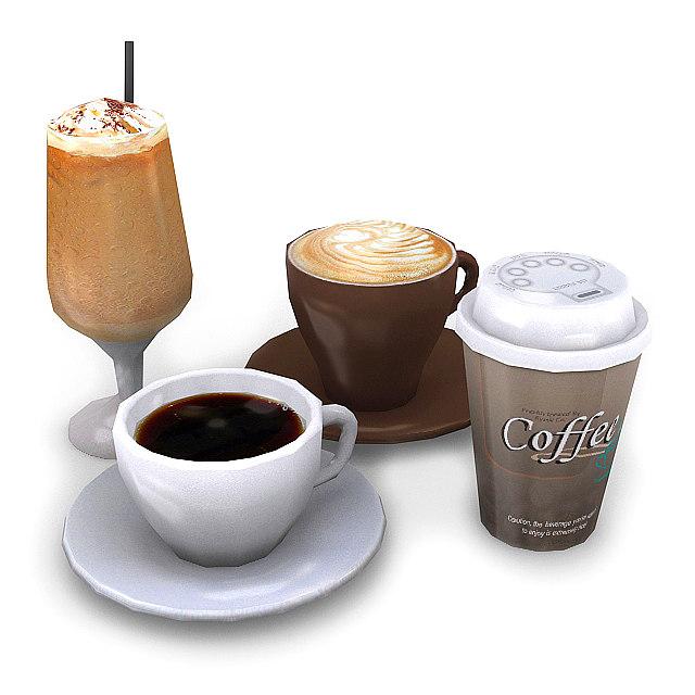 3d coffee latte iced model