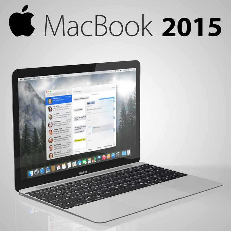 new macbook 2015 3d model