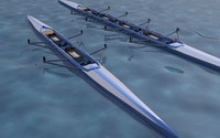 double and four man rowing boat