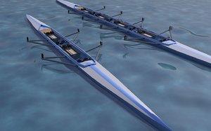 3d model double man boat
