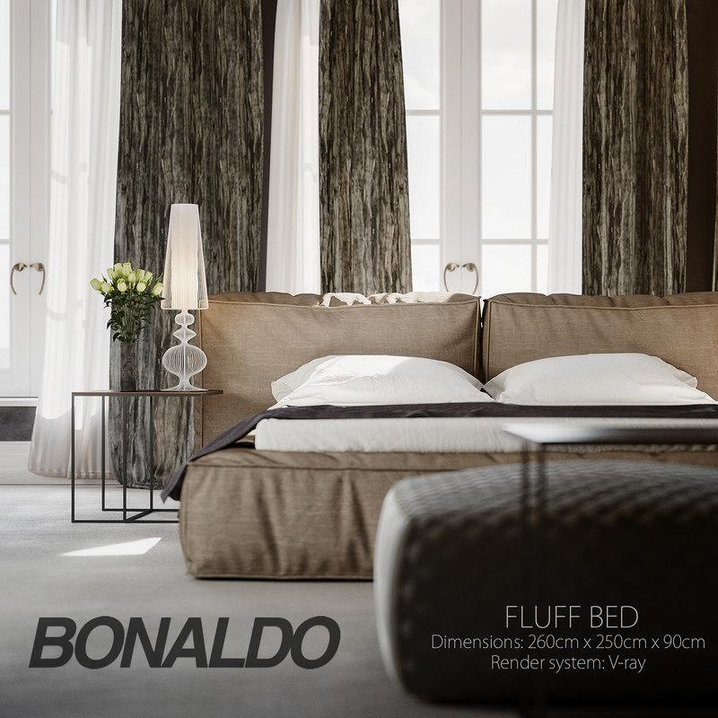3d fluff bed cover model