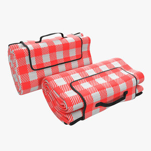picnic blanket red folded c4d