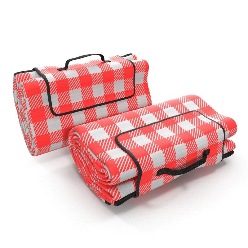 picnic blanket red folded c4d