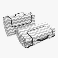 picnic blanket white folded 3d model