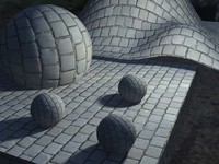 Cobble stone pavement with normal map
