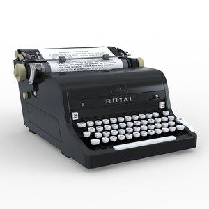 3d model royal typewriter