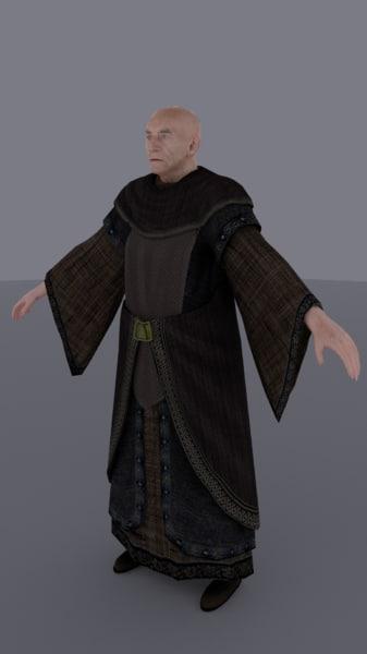 new medieval old man 3d obj