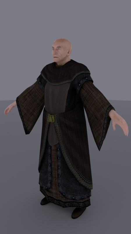 new medieval old man 3d obj