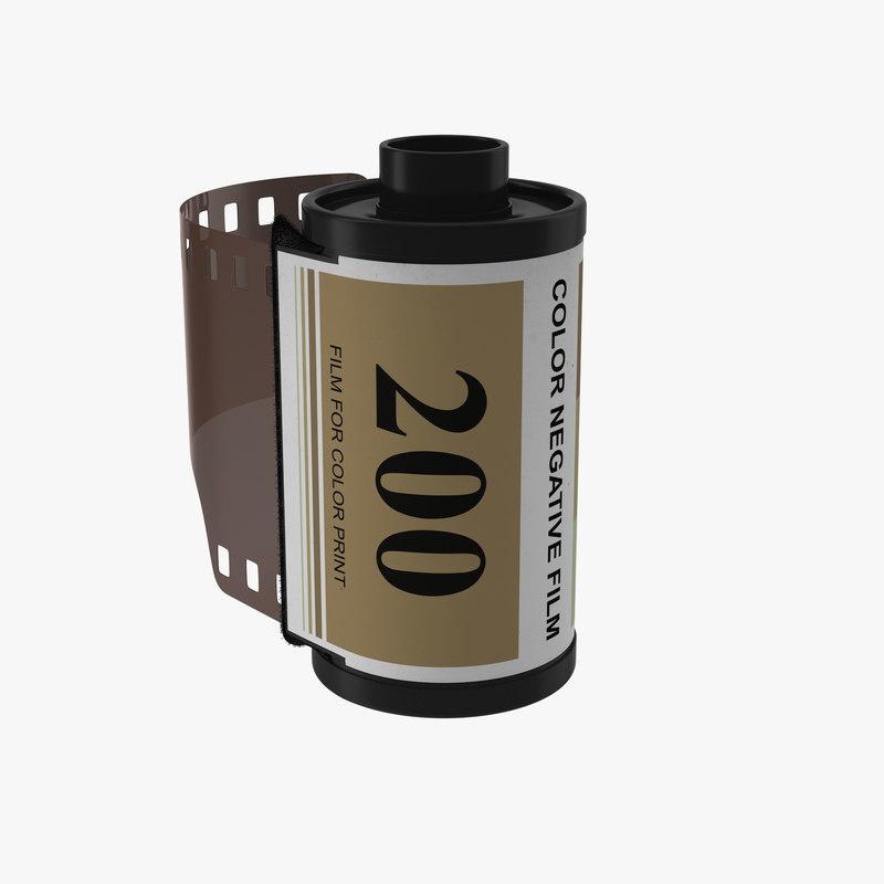 3d model 35mm film roll gold
