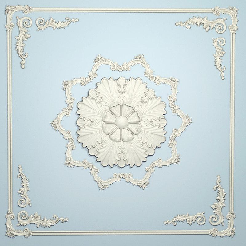 ornamental plaster scrolls ceiling 3d model