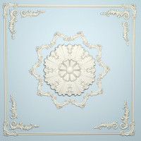 ornamental plaster scrolls ceiling 3d model