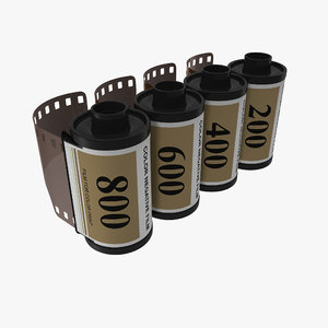 3d model film roll 35mm gold