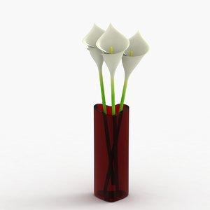 3d modern vase flowers model