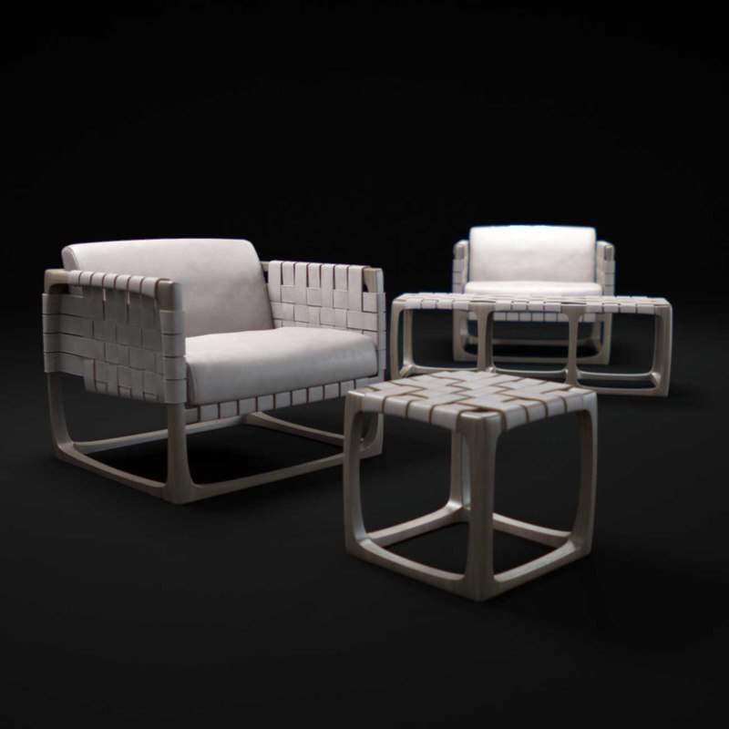 3d bungalow-armchair-and-stool