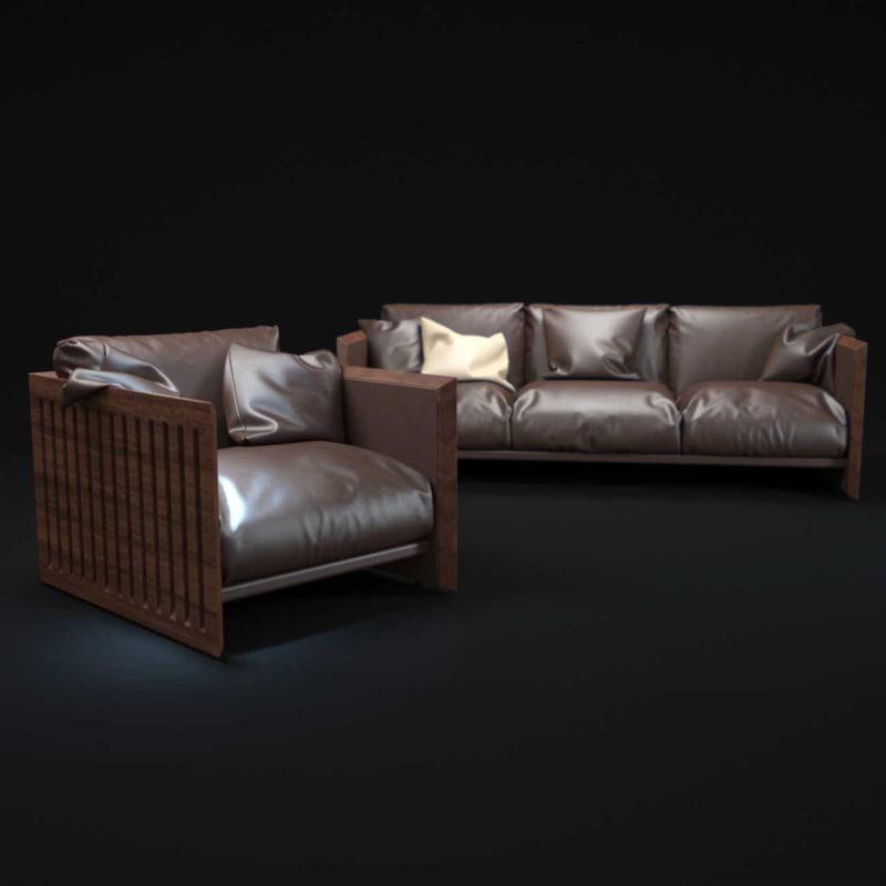 soft-wood-sofa 3d model
