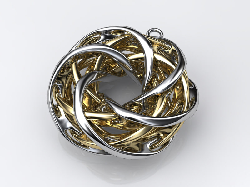 3d model pendant intersecting tori