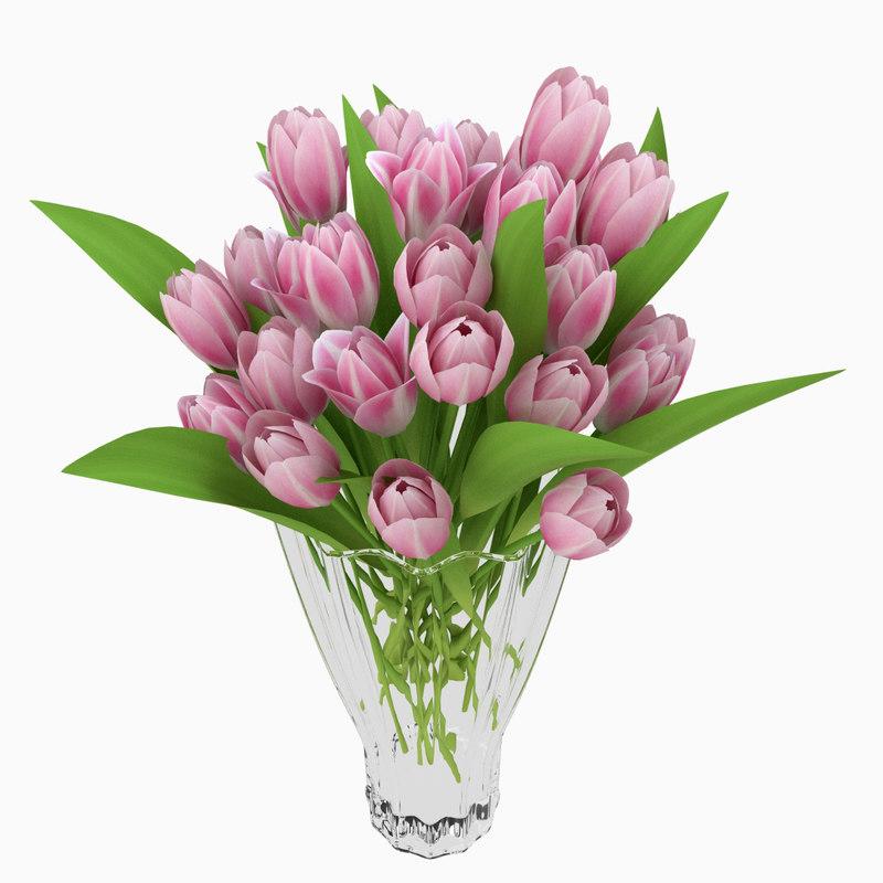 3d model vase tulips