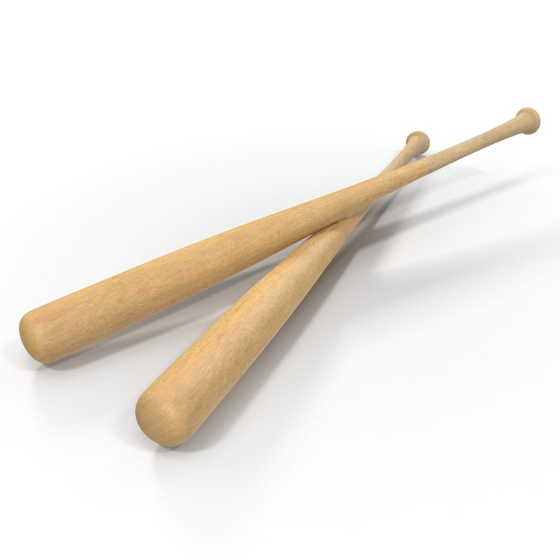 3d model of wooden baseball bat generic